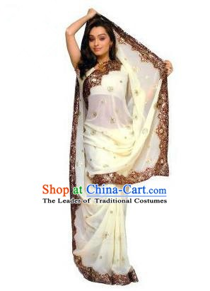 Traditional Asian India Stage Performance Costume Hindustan Indian National White Dress Clothing for Women