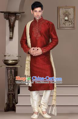 Traditional Asian India Stage Performance Red Costume Hindustan Indian National Clothing for Men