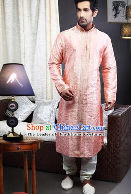 Traditional Asian India Stage Performance Pink Costume Hindustan Indian National Clothing for Men