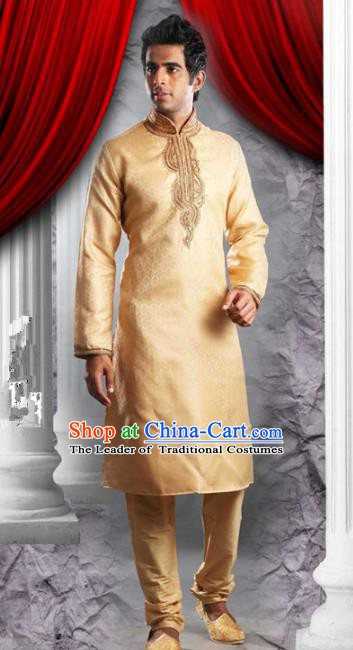 Traditional Asian India Stage Performance Yellow Costume Hindustan Indian National Clothing for Men