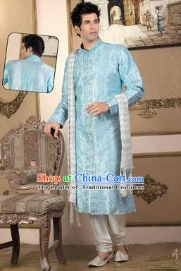 Traditional Asian India Stage Performance Blue Costume Hindustan Indian Prince National Clothing for Men