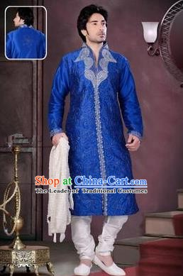 Traditional Asian India Stage Performance Royalblue Costume Hindustan Indian Prince National Clothing for Men