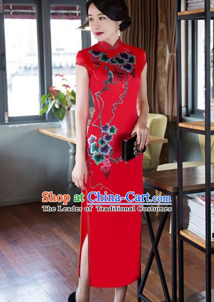 Traditional Chinese National Wedding Costume Printing Red Cheongsam Dress for Women