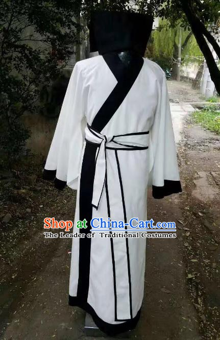 Traditional Chinese Stage Performance Costume Ancient Han Dynasty Scholar White Robe for Men