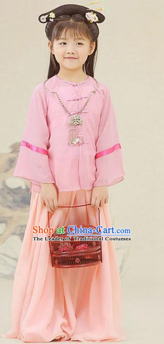 Traditional Chinese Ming Dynasty Nobility Lady Costume Ancient Princess Clothing for Kids