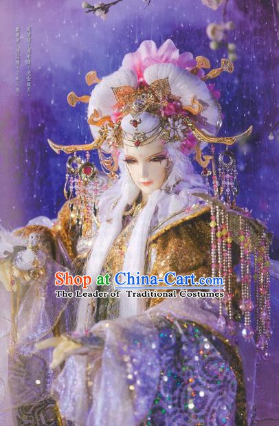 Traditional China Ancient Cosplay Palace Princess Hair Accessories Wig and Headwear for Men
