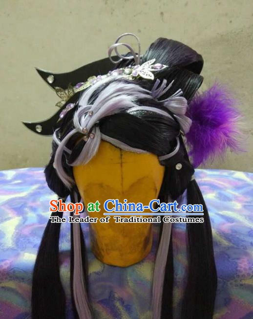 Traditional China Ancient Cosplay Swordswoman Hair Accessories Wig and Headwear for Women