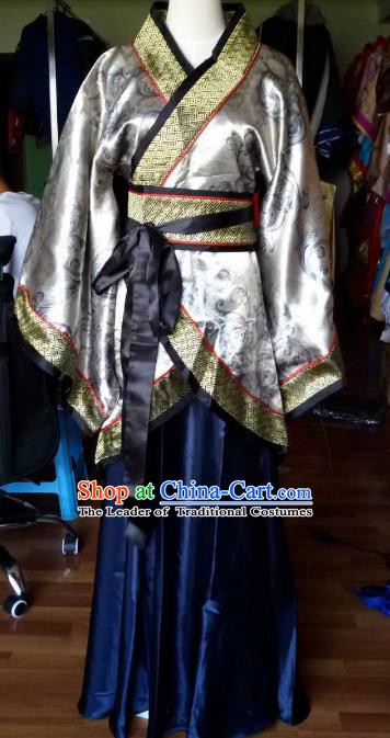 Traditional China Ancient Han Dynasty Royal Princess Costume Hanfu Grey Curving-front Robe for Women