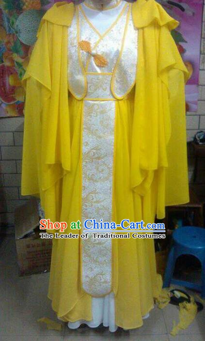 Traditional China Ancient Cosplay Swordsman Costume Palace Princess Yellow Dress for Women