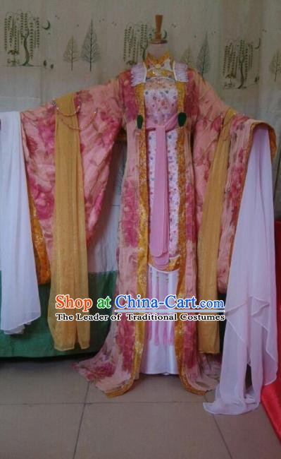 Traditional China Ancient Cosplay Palace Lady Costume Princess Pink Dress Clothing for Women