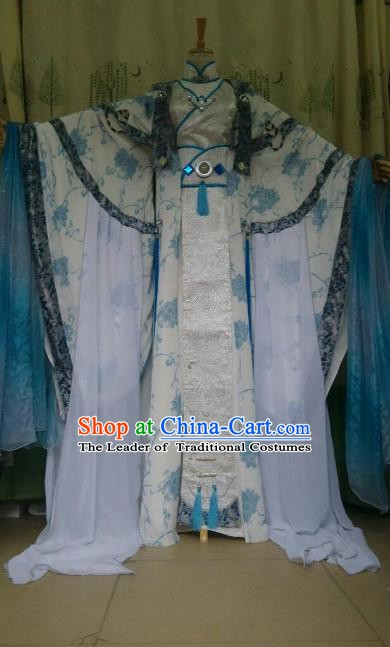 Traditional China Ancient Cosplay Palace Lady White Costume Princess Hanfu Dress Clothing for Women