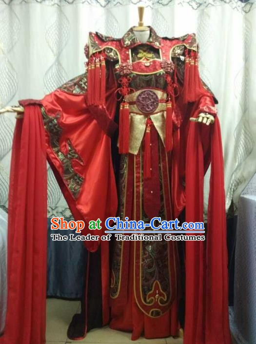 China Ancient Cosplay Swordswoman Costume Fancy Dress Traditional Halloween Princess Hanfu Clothing for Women