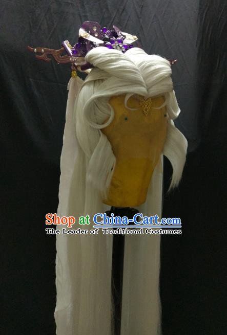 Traditional China Ancient Cosplay Palace Lady Swordswoman Wig and Hair Accessories for Women