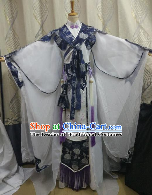 China Ancient Cosplay Swordswoman Costume Fairy Princess Fancy Dress Traditional Hanfu Clothing for Women