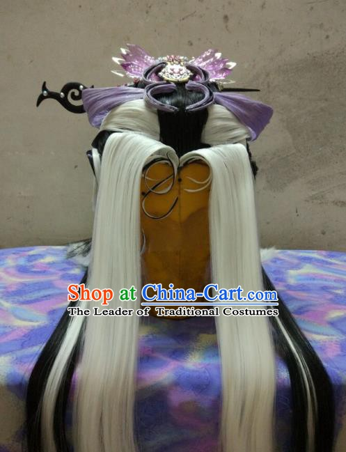 Traditional China Ancient Cosplay Swordswoman Wig and Hair Accessories Headwear for Women
