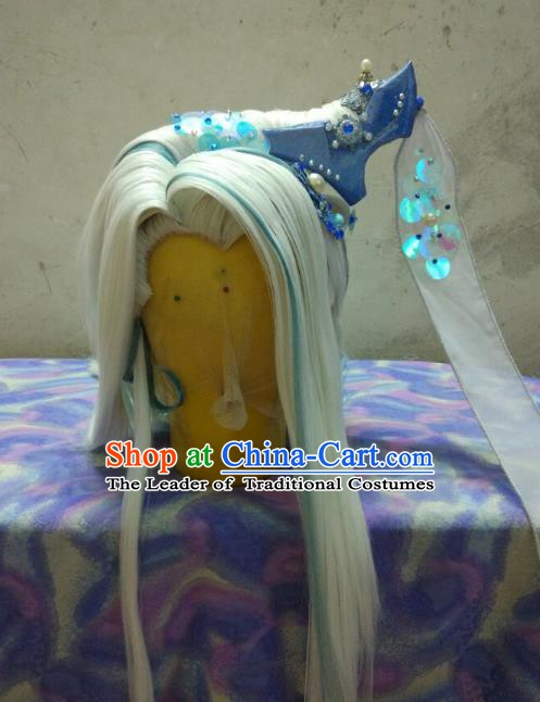 Traditional China Ancient Cosplay Fairy Wig and Hair Accessories Headwear for Women