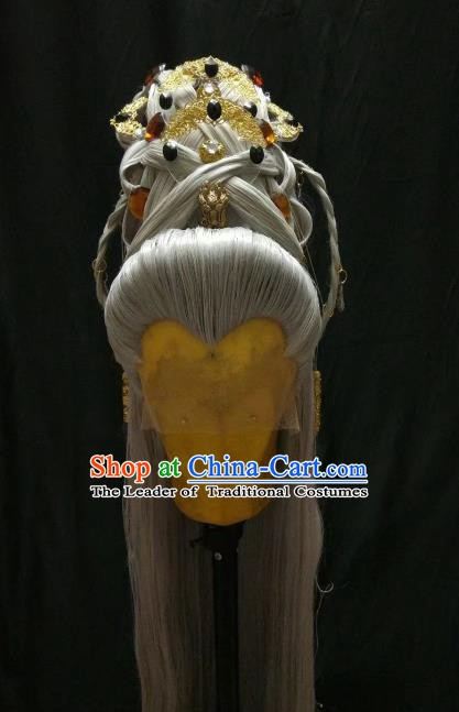 Traditional China Ancient Cosplay Swordsman Nobility Childe Wig and Hair Accessories Headwear for Men