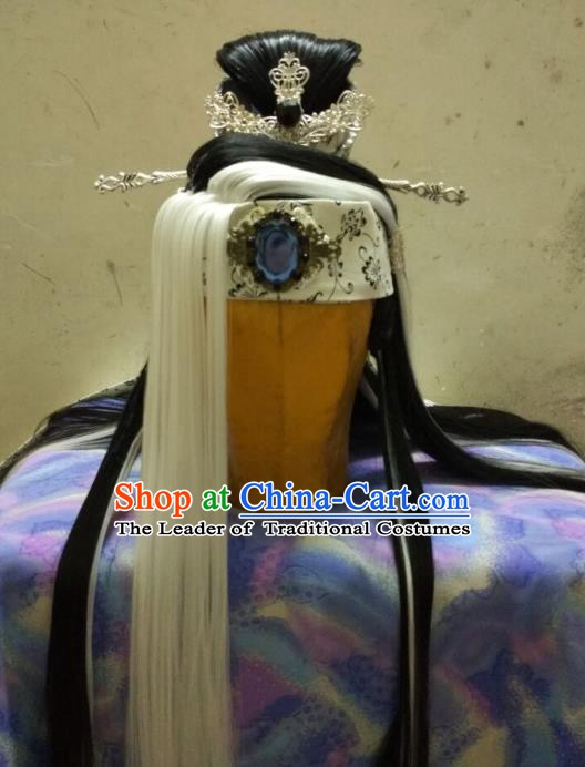 Traditional China Ancient Cosplay Swordsman Hair Accessories Wig and Hairpins for Men