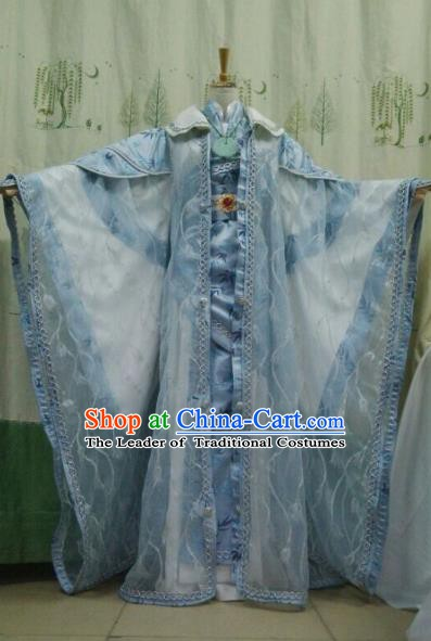 China Ancient Cosplay Halloween Swordswoman Costume Traditional Princess Hanfu Blue Dress for Women