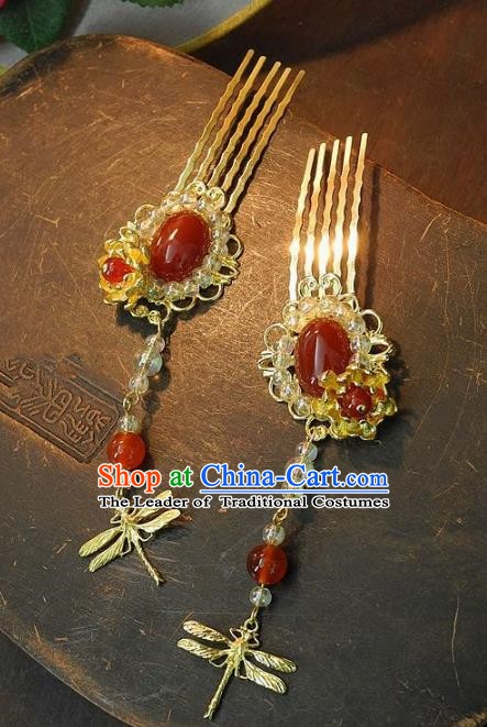 Chinese Handmade Classical Hair Accessories Ancient Wedding Hanfu Agate Hair Combs Hairpins for Women