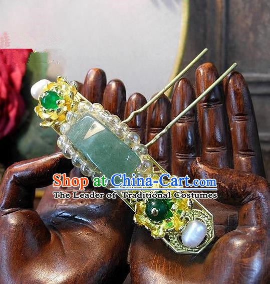 Chinese Handmade Classical Hair Accessories Ancient Wedding Hanfu Jade Little Hairpins for Women