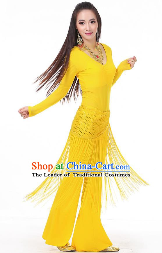 Asian Indian Belly Dance Yellow Costume Stage Performance India Raks Sharki Dress for Women