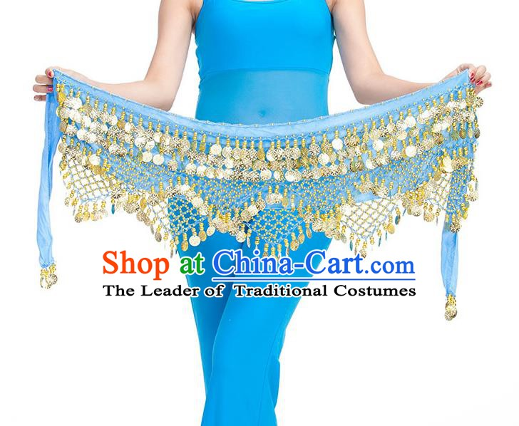 Asian Indian Belly Dance Golden Paillette Blue Waistband Accessories India Raks Sharki Belts for Women