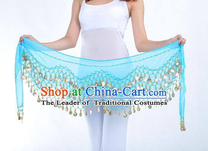 Asian Indian Belly Dance Blue Silk Waistband Accessories India Raks Sharki Belts for Women