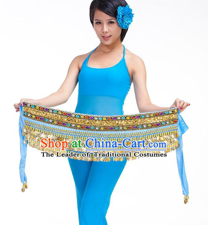 Asian Indian Belly Dance Blue Waistband Accessories India Raks Sharki Diamante Belts for Women