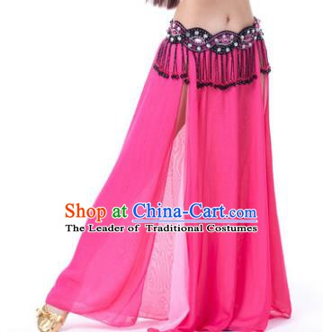 Asian Indian Belly Dance Costume Stage Performance Rosy Skirt, India Raks Sharki Slit Dress for Women