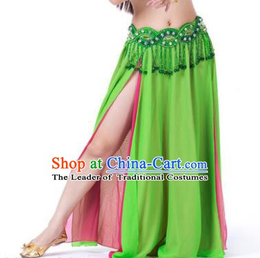 Asian Indian Belly Dance Costume Stage Performance Light Green and Rosy Skirt, India Raks Sharki Slit Dress for Women