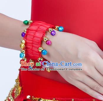 Oriental Indian Belly Dance Accessories Red Bracelets India Raks Sharki Bells Bangle for Women