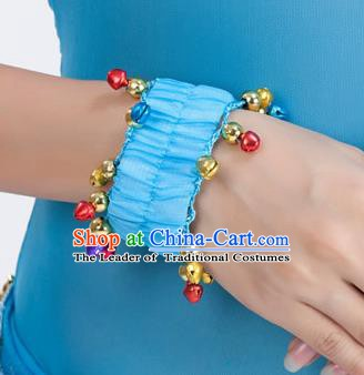 Oriental Indian Belly Dance Accessories Blue Bracelets India Raks Sharki Bells Bangle for Women