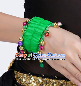 Oriental Indian Belly Dance Accessories Green Bracelets India Raks Sharki Bells Bangle for Women