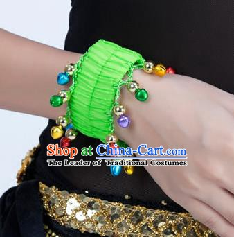 Oriental Indian Belly Dance Accessories Light Green Bracelets India Raks Sharki Bells Bangle for Women