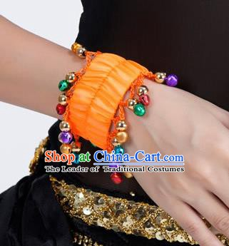 Oriental Indian Belly Dance Accessories Orange Bracelets India Raks Sharki Bells Bangle for Women