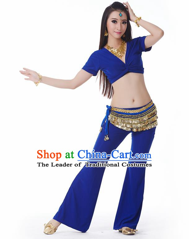 Asian Indian Belly Dance Costume Stage Performance Yoga Royalblue Outfits, India Raks Sharki Dress for Women