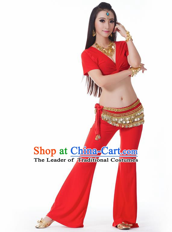 Asian Indian Belly Dance Costume Stage Performance Yoga Red Outfits, India Raks Sharki Dress for Women