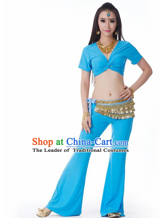 Asian Indian Belly Dance Costume Stage Performance Yoga Blue Outfits, India Raks Sharki Dress for Women