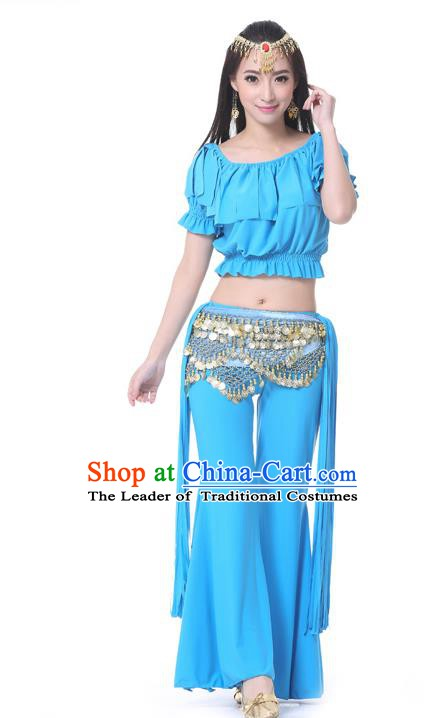 Indian Belly Dance Blue Uniform India Raks Sharki Dress Oriental Dance Rosy Clothing for Women