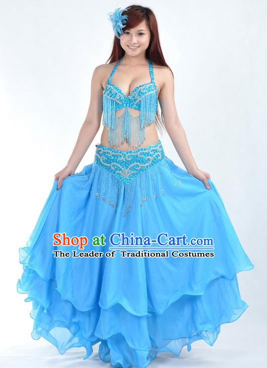 Indian Belly Dance Blue Costume India Raks Sharki Dress Oriental Dance Clothing for Women
