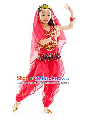 Indian Belly Dance Rosy Costume India Raks Sharki Dress Oriental Dance Clothing for Kids