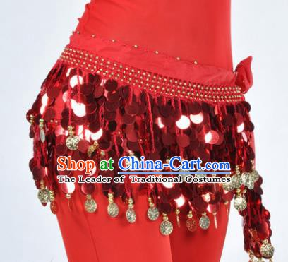Indian Traditional Belly Dance Red Tassel Belts Waistband India Raks Sharki Waist Accessories for Women