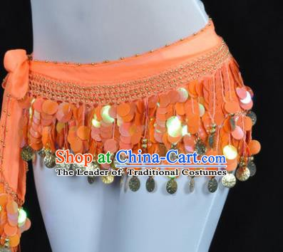 Indian Traditional Belly Dance Orange Tassel Belts Waistband India Raks Sharki Waist Accessories for Women