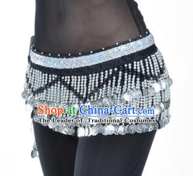 Indian Traditional Belly Dance Paillette Black Belts Waistband India Raks Sharki Waist Accessories for Women