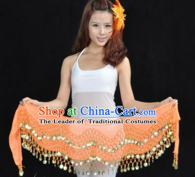 Asian Indian Belly Dance Waist Accessories Orange Waistband India Raks Sharki Belts for Women