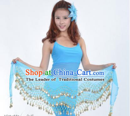 Asian Indian Belly Dance Waist Accessories Blue Waistband India Raks Sharki Belts for Women