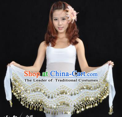 Asian Indian Belly Dance Waist Accessories White Waistband India Raks Sharki Belts for Women