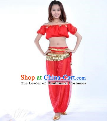 Asian Indian Belly Dance Costume Stage Performance Yoga Red Uniform, India Raks Sharki Dress for Women