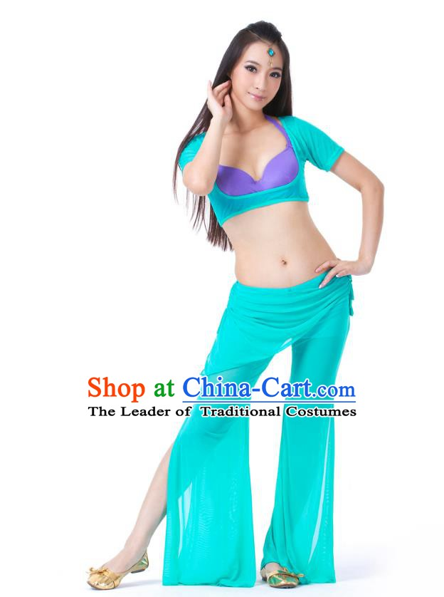 Asian Indian Belly Dance Lake Blue Uniform India Raks Sharki Dress Oriental Dance Clothing for Women
